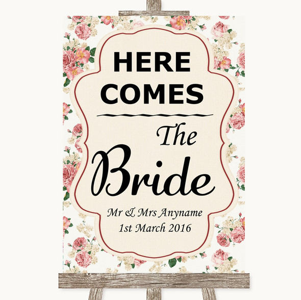 Vintage Roses Here Comes Bride Aisle Sign Personalised Wedding Sign