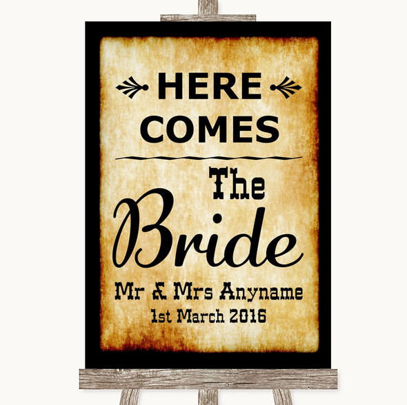 Western Here Comes Bride Aisle Sign Personalised Wedding Sign