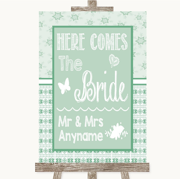 Winter Green Here Comes Bride Aisle Sign Personalised Wedding Sign