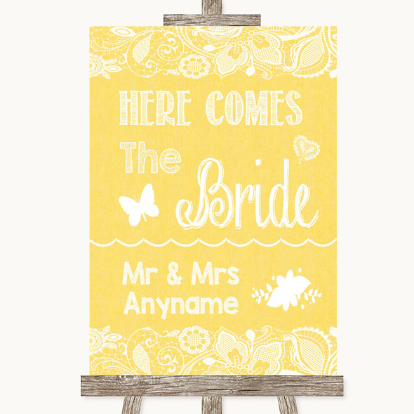 Yellow Burlap & Lace Here Comes Bride Aisle Sign Personalised Wedding Sign