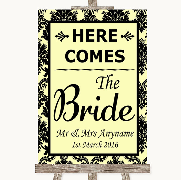 Yellow Damask Here Comes Bride Aisle Sign Personalised Wedding Sign