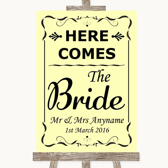 Yellow Here Comes Bride Aisle Sign Personalised Wedding Sign