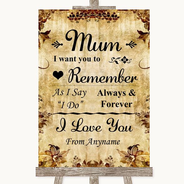 Autumn Vintage I Love You Message For Mum Personalised Wedding Sign
