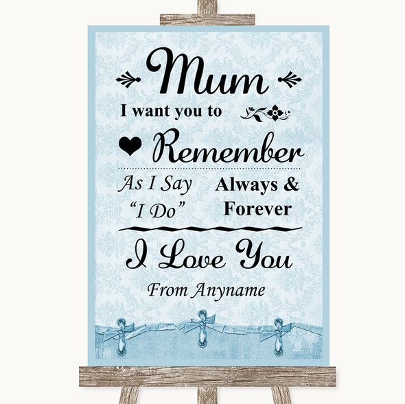 Blue Shabby Chic I Love You Message For Mum Personalised Wedding Sign