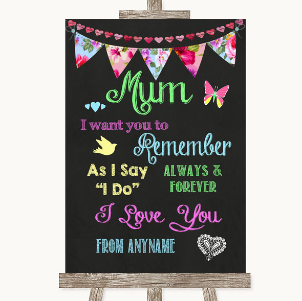 Bright Bunting Chalk I Love You Message For Mum Personalised Wedding Sign