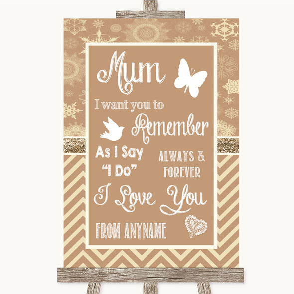 Brown Winter I Love You Message For Mum Personalised Wedding Sign