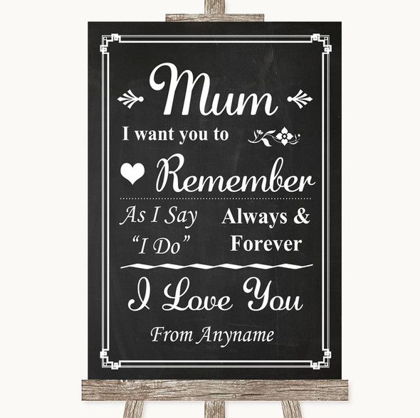 Chalk Style I Love You Message For Mum Personalised Wedding Sign