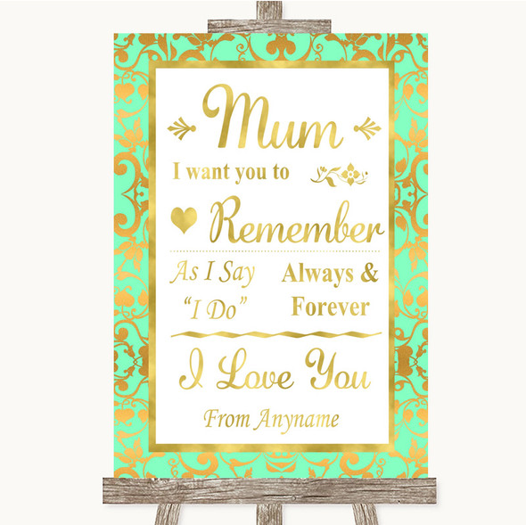 Mint Green & Gold I Love You Message For Mum Personalised Wedding Sign