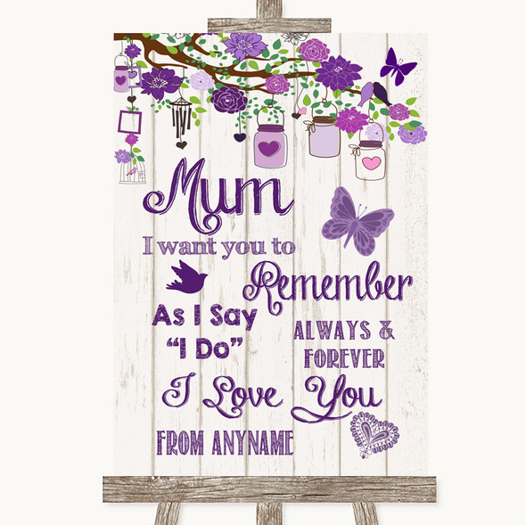Purple Rustic Wood I Love You Message For Mum Personalised Wedding Sign