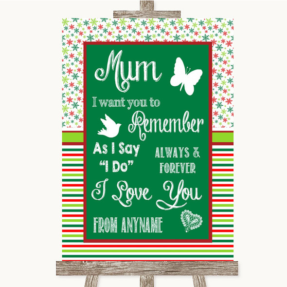Red & Green Winter I Love You Message For Mum Personalised Wedding Sign
