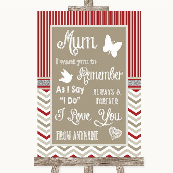 Red & Grey Winter I Love You Message For Mum Personalised Wedding Sign