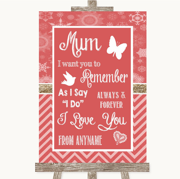 Red Winter I Love You Message For Mum Personalised Wedding Sign