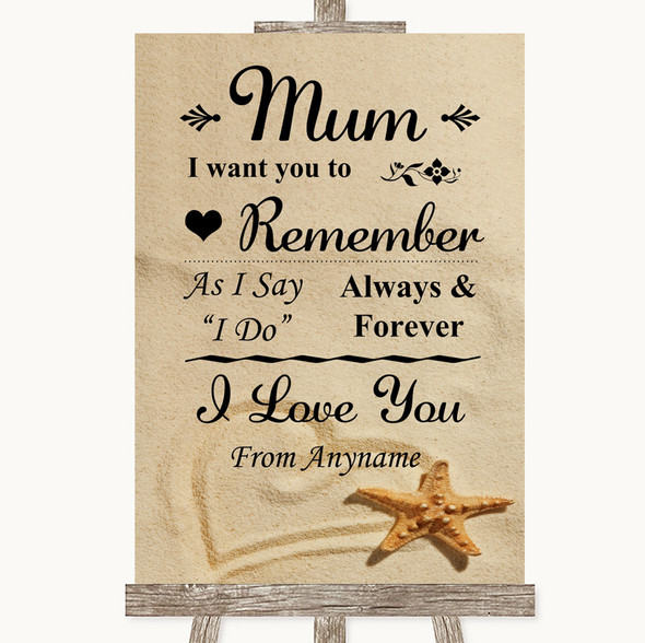 Sandy Beach I Love You Message For Mum Personalised Wedding Sign