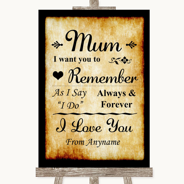 Western I Love You Message For Mum Personalised Wedding Sign
