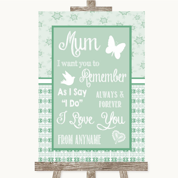 Winter Green I Love You Message For Mum Personalised Wedding Sign