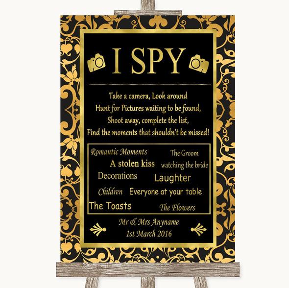 Black & Gold Damask I Spy Disposable Camera Personalised Wedding Sign