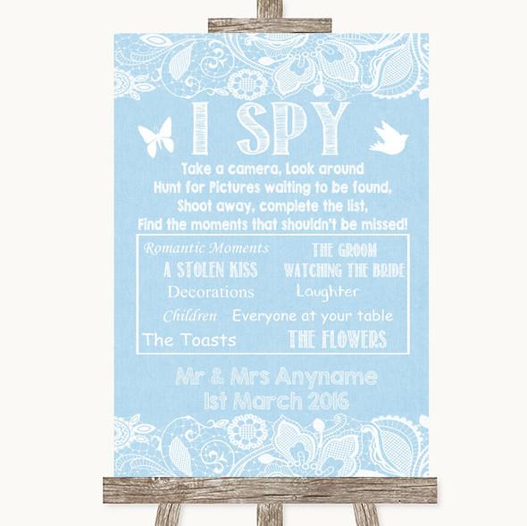 Blue Burlap & Lace I Spy Disposable Camera Personalised Wedding Sign