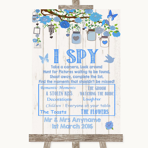 Blue Rustic Wood I Spy Disposable Camera Personalised Wedding Sign