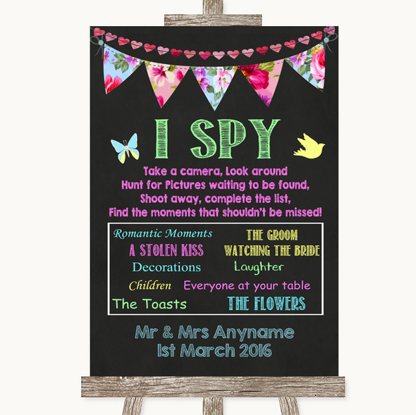 Bright Bunting Chalk I Spy Disposable Camera Personalised Wedding Sign