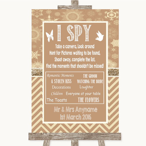 Brown Winter I Spy Disposable Camera Personalised Wedding Sign