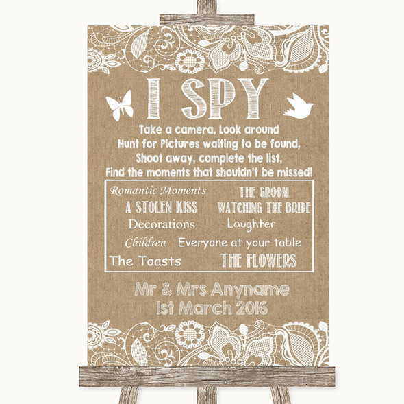 Burlap & Lace I Spy Disposable Camera Personalised Wedding Sign