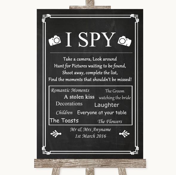 Chalk Style I Spy Disposable Camera Personalised Wedding Sign