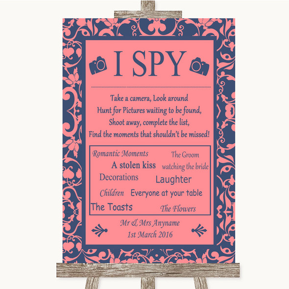 Coral Pink & Blue I Spy Disposable Camera Personalised Wedding Sign