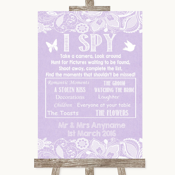 Lilac Burlap & Lace I Spy Disposable Camera Personalised Wedding Sign