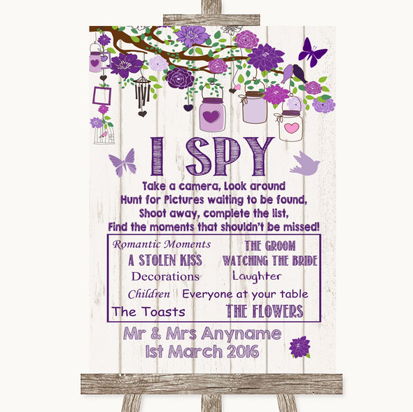 Purple Rustic Wood I Spy Disposable Camera Personalised Wedding Sign