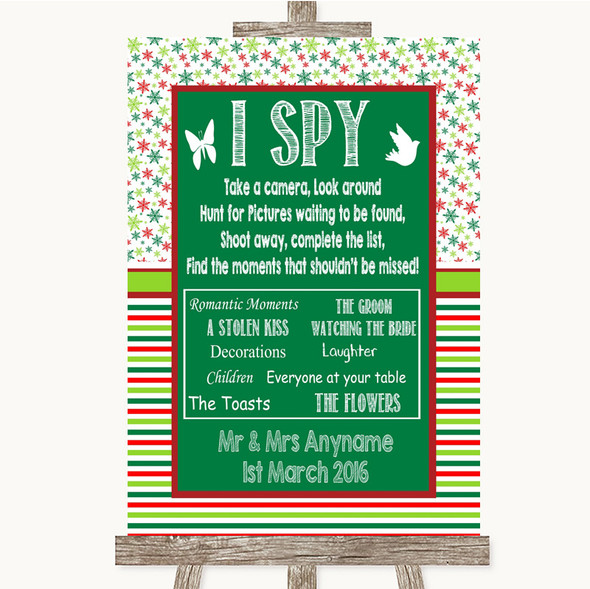 Red & Green Winter I Spy Disposable Camera Personalised Wedding Sign