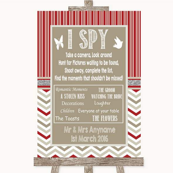 Red & Grey Winter I Spy Disposable Camera Personalised Wedding Sign