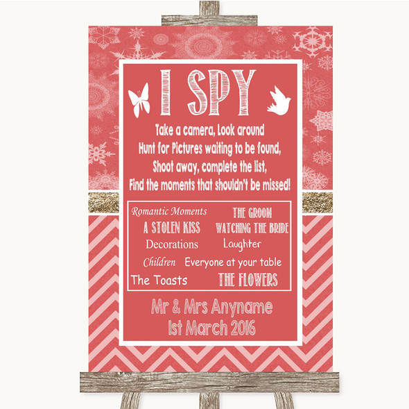 Red Winter I Spy Disposable Camera Personalised Wedding Sign
