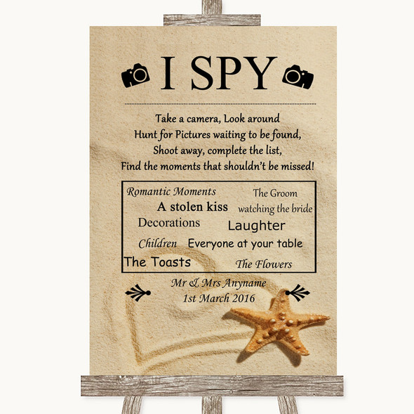 Sandy Beach I Spy Disposable Camera Personalised Wedding Sign