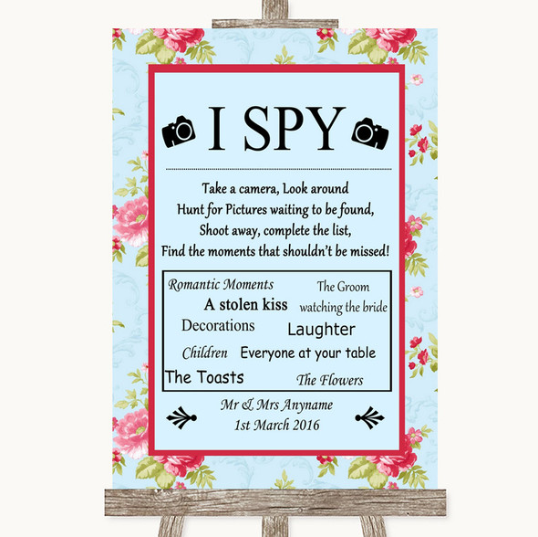 Shabby Chic Floral I Spy Disposable Camera Personalised Wedding Sign