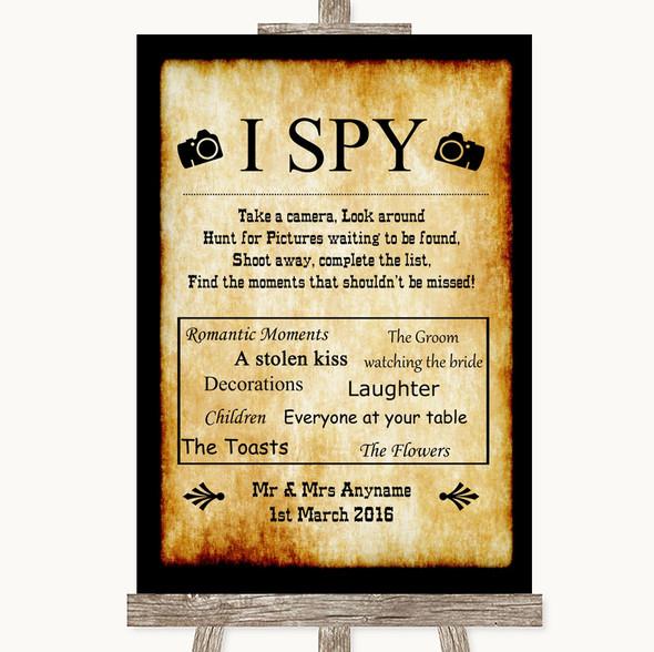 Western I Spy Disposable Camera Personalised Wedding Sign