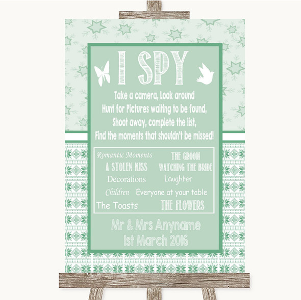Winter Green I Spy Disposable Camera Personalised Wedding Sign