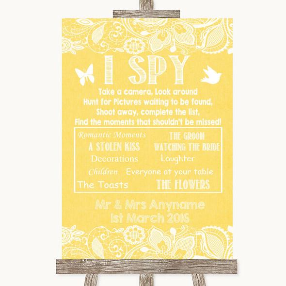 Yellow Burlap & Lace I Spy Disposable Camera Personalised Wedding Sign
