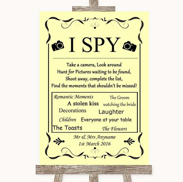 Yellow I Spy Disposable Camera Personalised Wedding Sign
