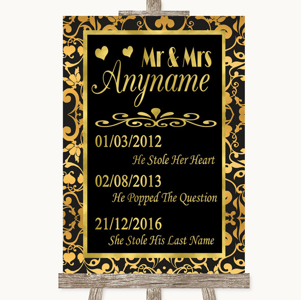 Black & Gold Damask Important Special Dates Personalised Wedding Sign