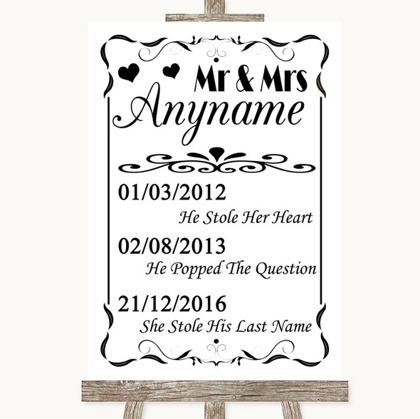 Black & White Important Special Dates Personalised Wedding Sign
