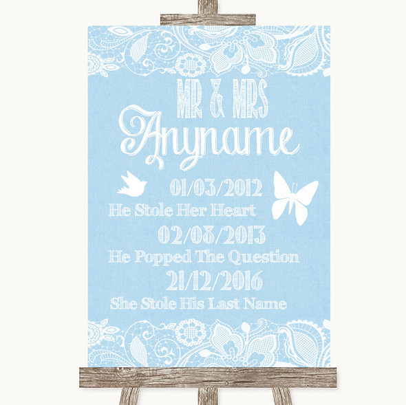 Blue Burlap & Lace Important Special Dates Personalised Wedding Sign