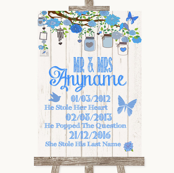 Blue Rustic Wood Important Special Dates Personalised Wedding Sign