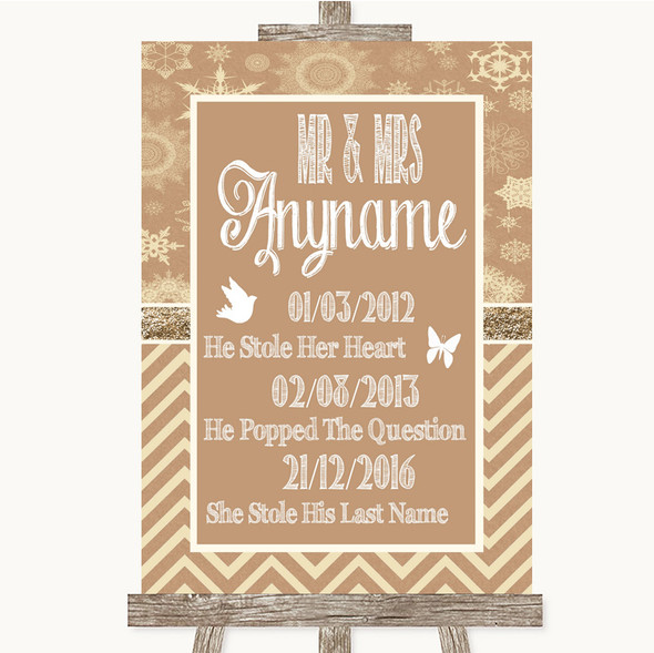 Brown Winter Important Special Dates Personalised Wedding Sign