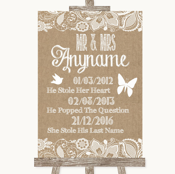 Burlap & Lace Important Special Dates Personalised Wedding Sign