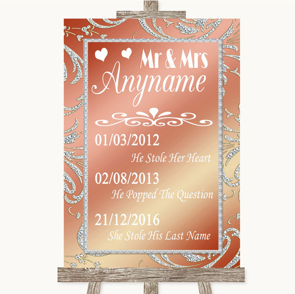 Coral Pink Important Special Dates Personalised Wedding Sign