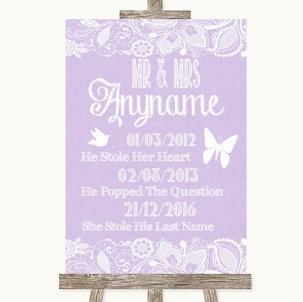 Lilac Burlap & Lace Important Special Dates Personalised Wedding Sign
