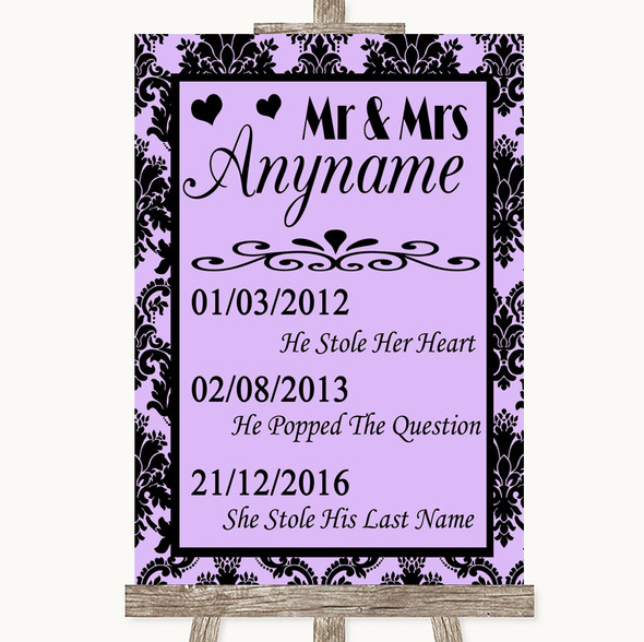 Lilac Damask Important Special Dates Personalised Wedding Sign