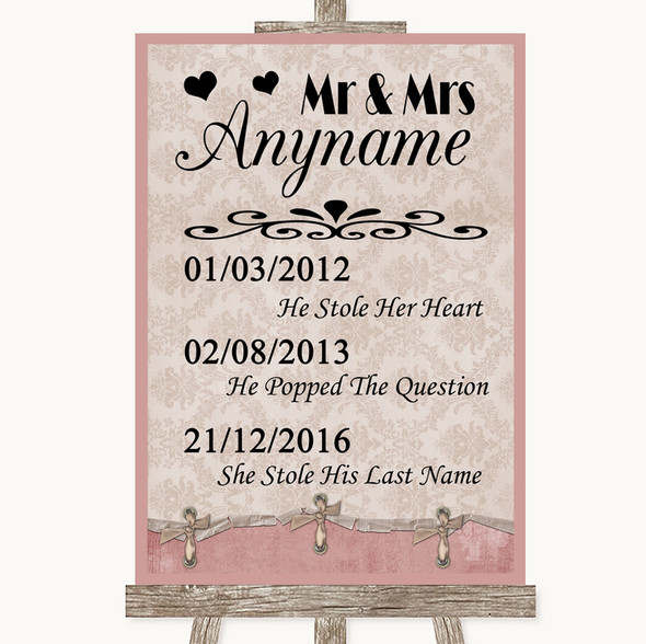 Pink Shabby Chic Important Special Dates Personalised Wedding Sign