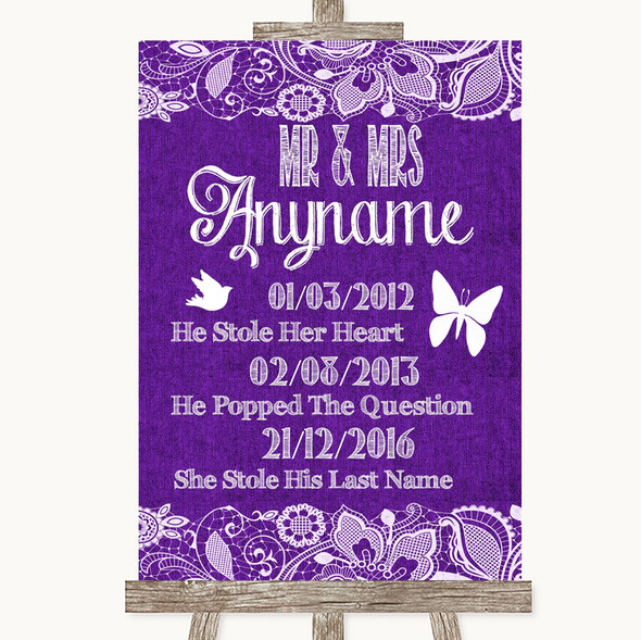 Purple Burlap & Lace Important Special Dates Personalised Wedding Sign