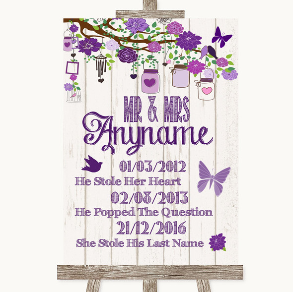 Purple Rustic Wood Important Special Dates Personalised Wedding Sign